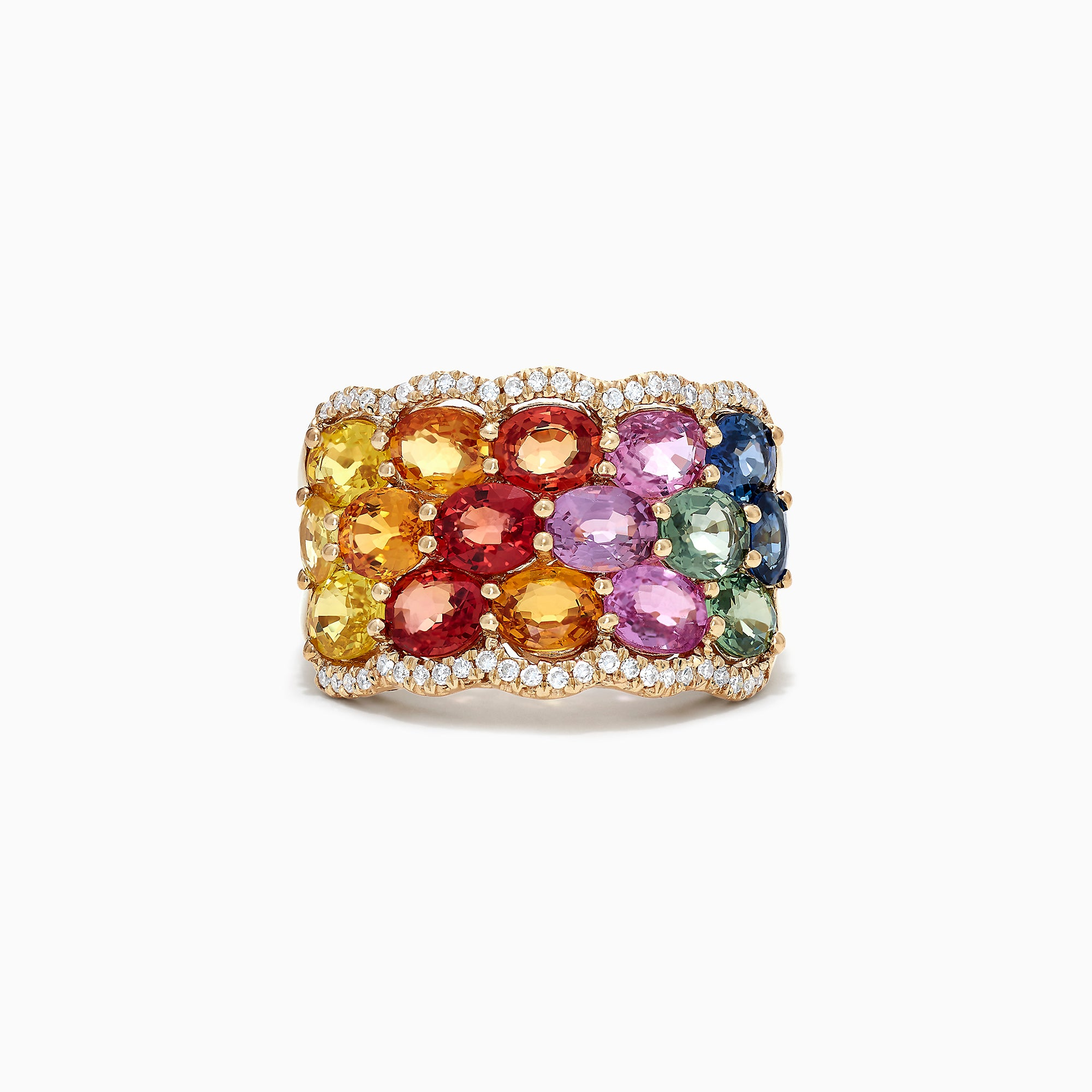 Effy Watercolors 14K Yellow Gold Multi Sapphire & Diamond Ring, 6.23 TCW