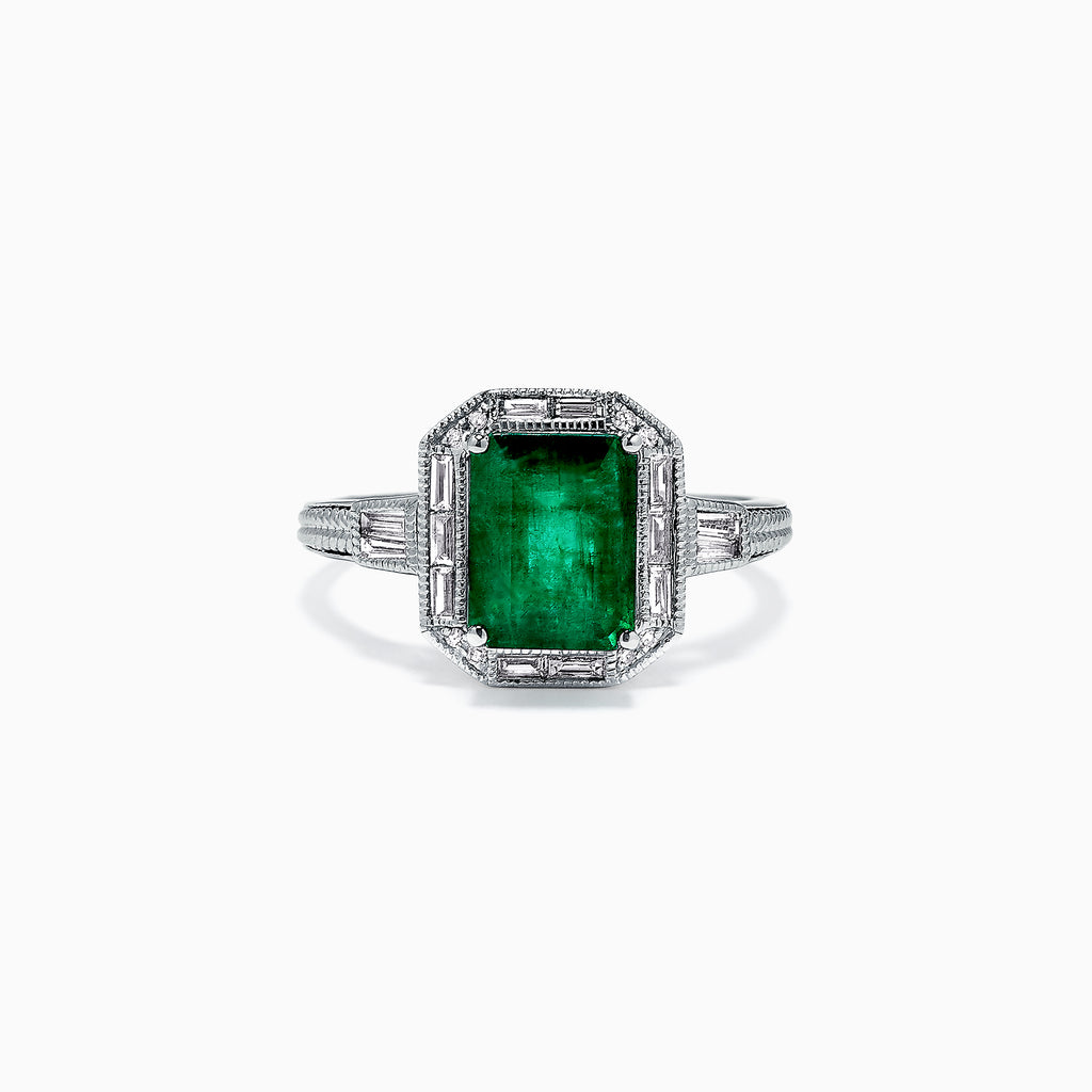 Effy Brasilica 14K White Gold Emerald and Diamond Ring, 2.52 TCW