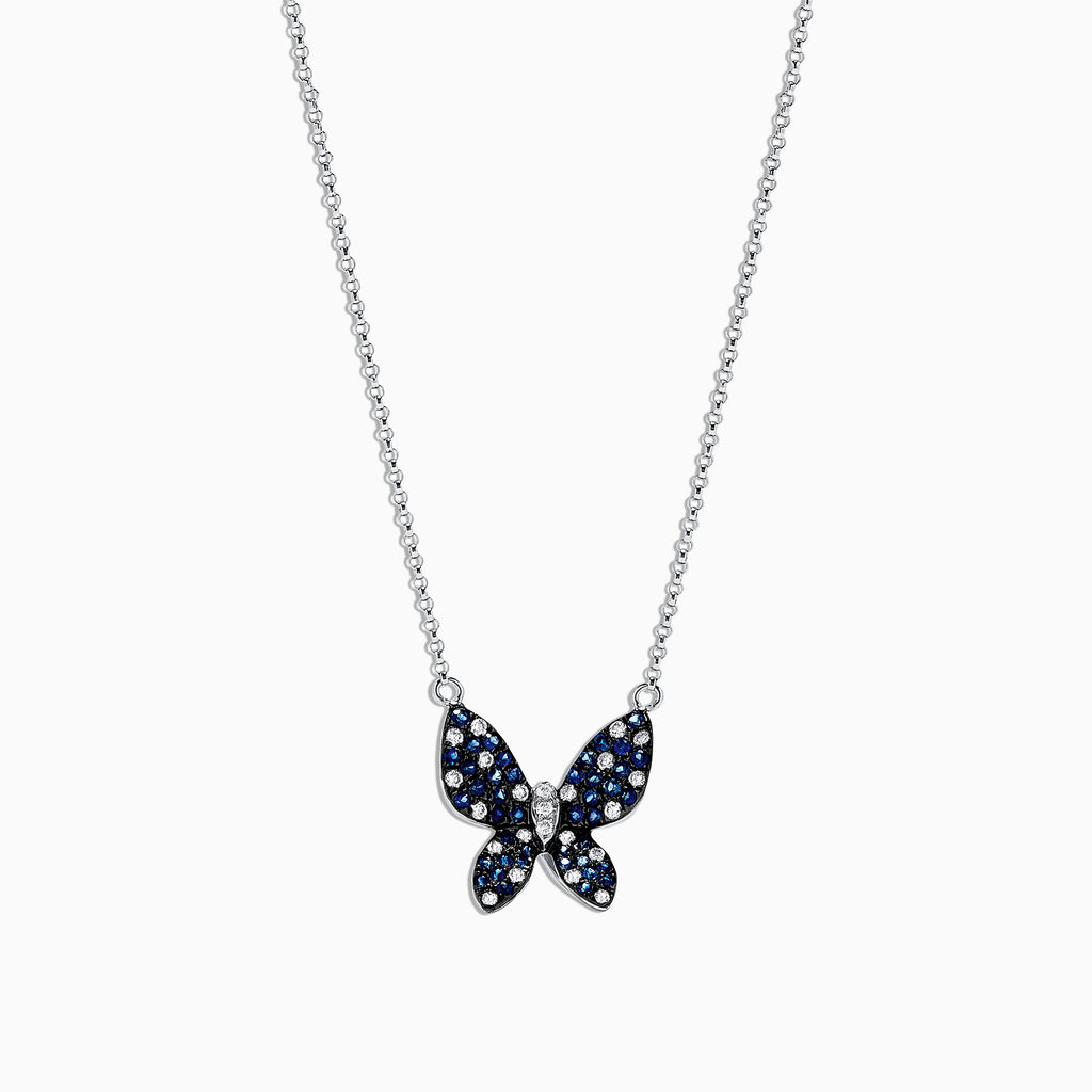 Effy Nature 14K White Gold Sapphire and Diamond Necklace, 0.70 TCW