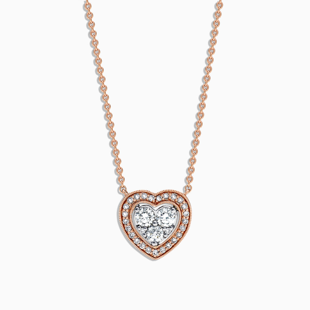 Effy Pave Classica 14K Rose & White Gold Diamond Heart Pendant, 0.47 TCW
