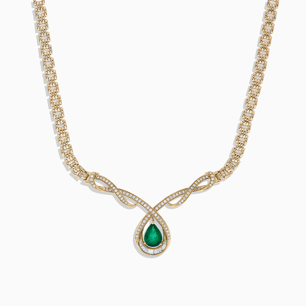 Effy Brasilica 14K Yellow Gold Emerald and Diamond Necklace, 1.96 TCW