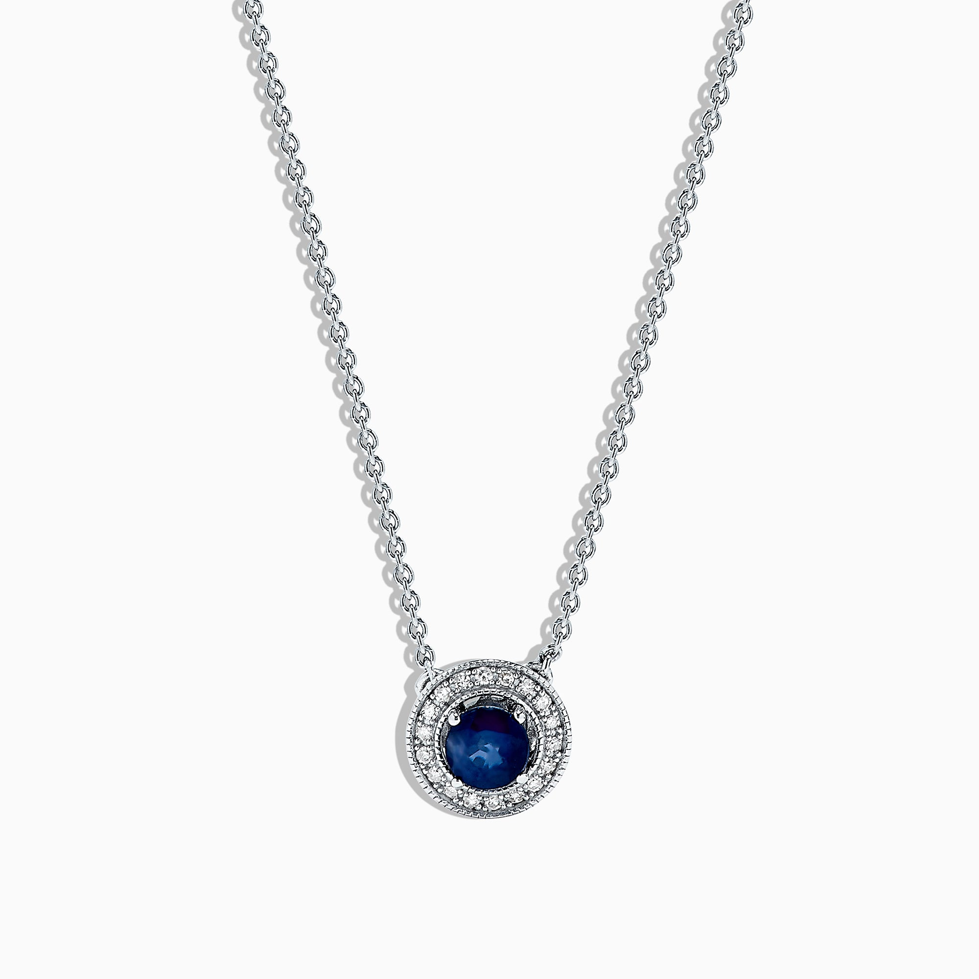 Effy 925 Sterling Silver Sapphire and Diamond Necklace, 0.66 TCW