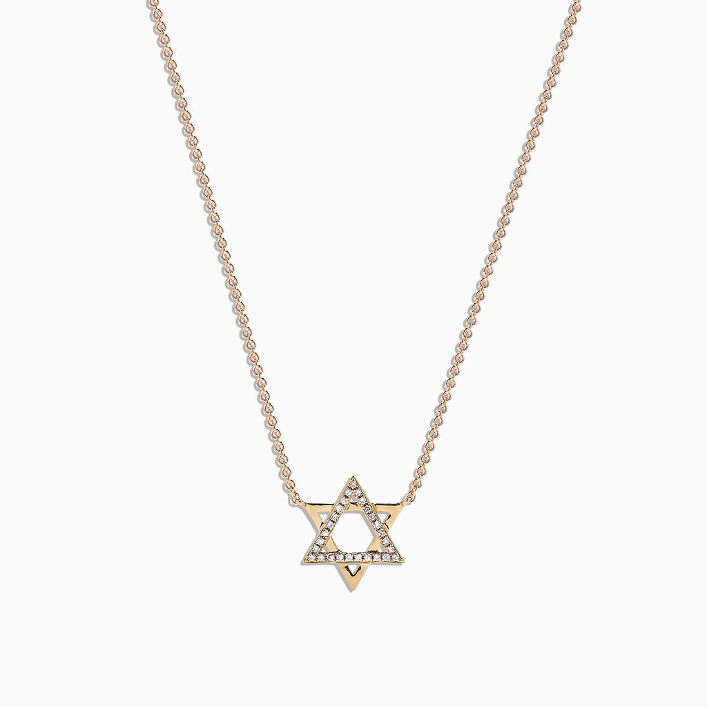 Effy Novelty 14K Yellow Gold Diamond Star of David Pendant 0.08 TCW