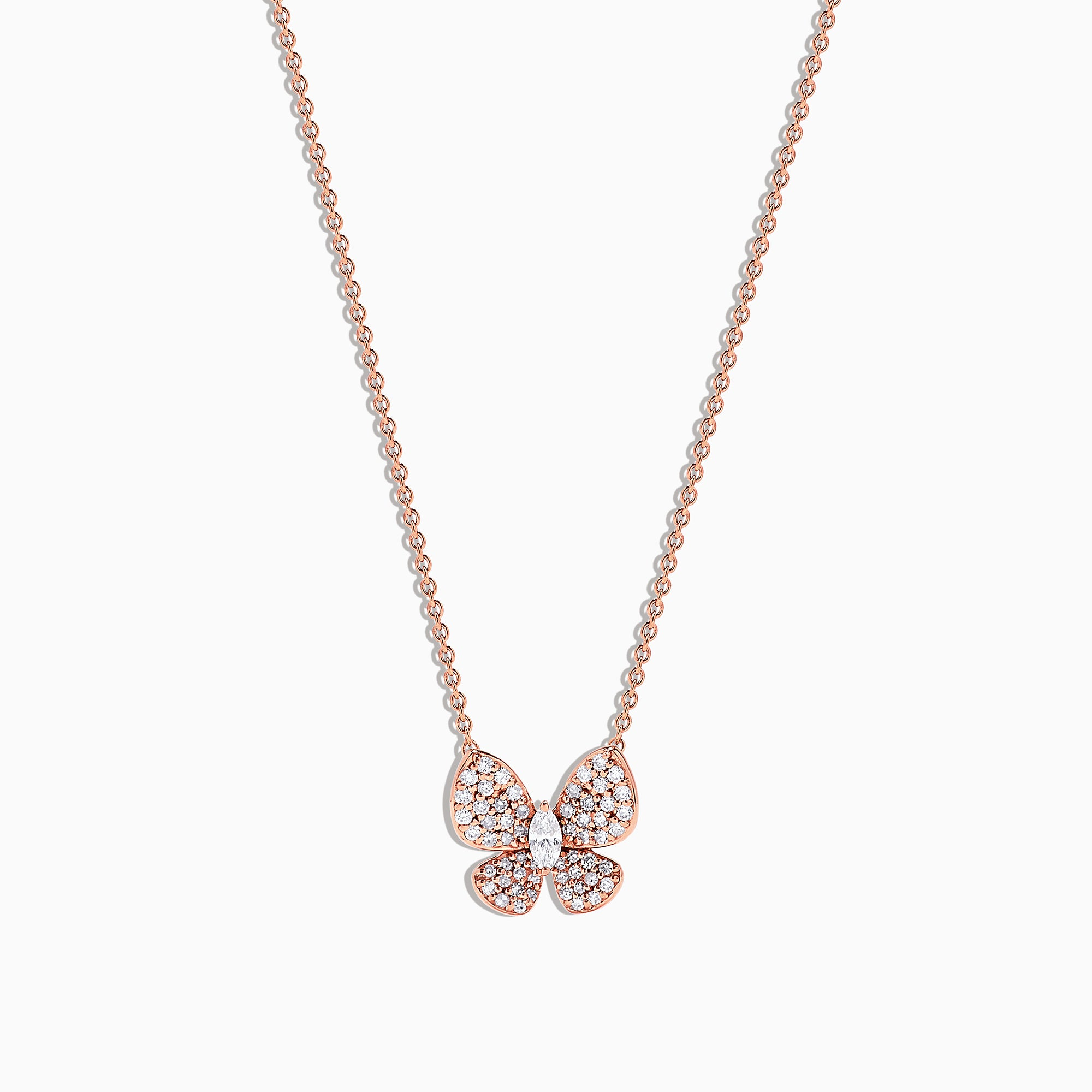 Effy Nature 14K Rose Gold Diamond Butterfly Necklace, 0.34 TCW