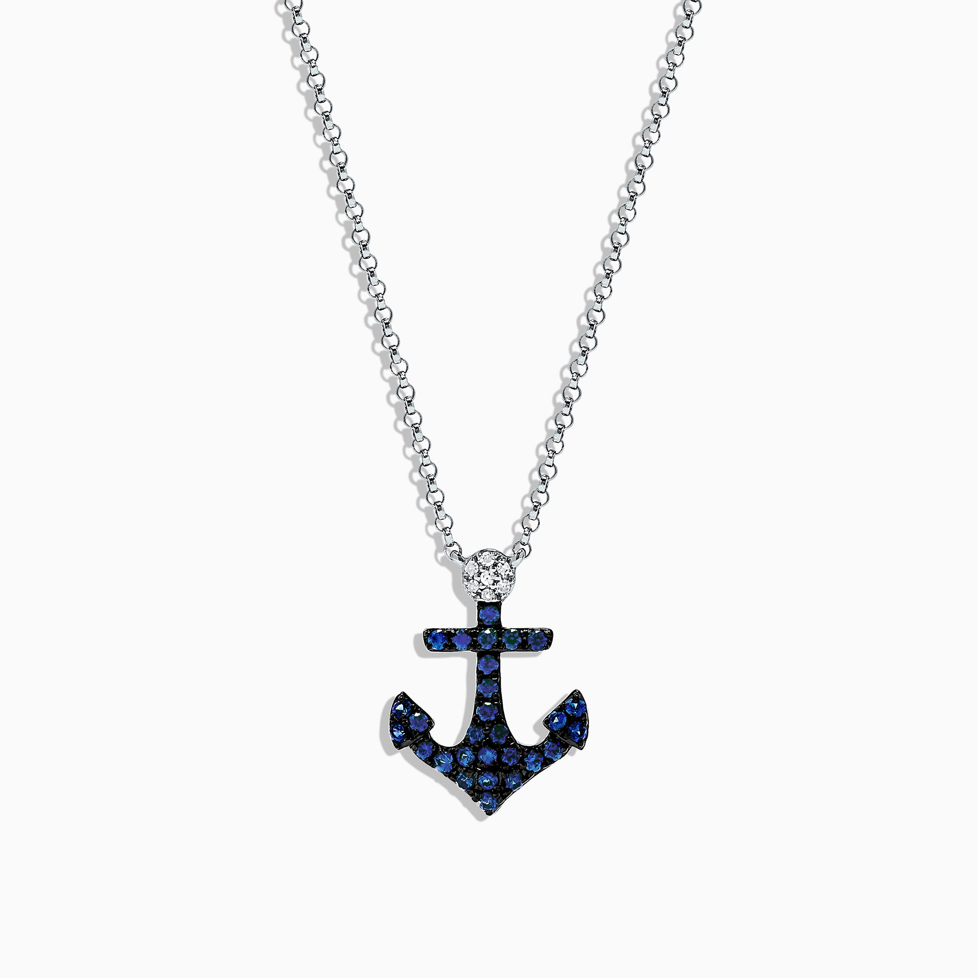 Effy Seaside 14K White Gold Sapphire and Diamond Anchor Pendant, 0.29 TCW