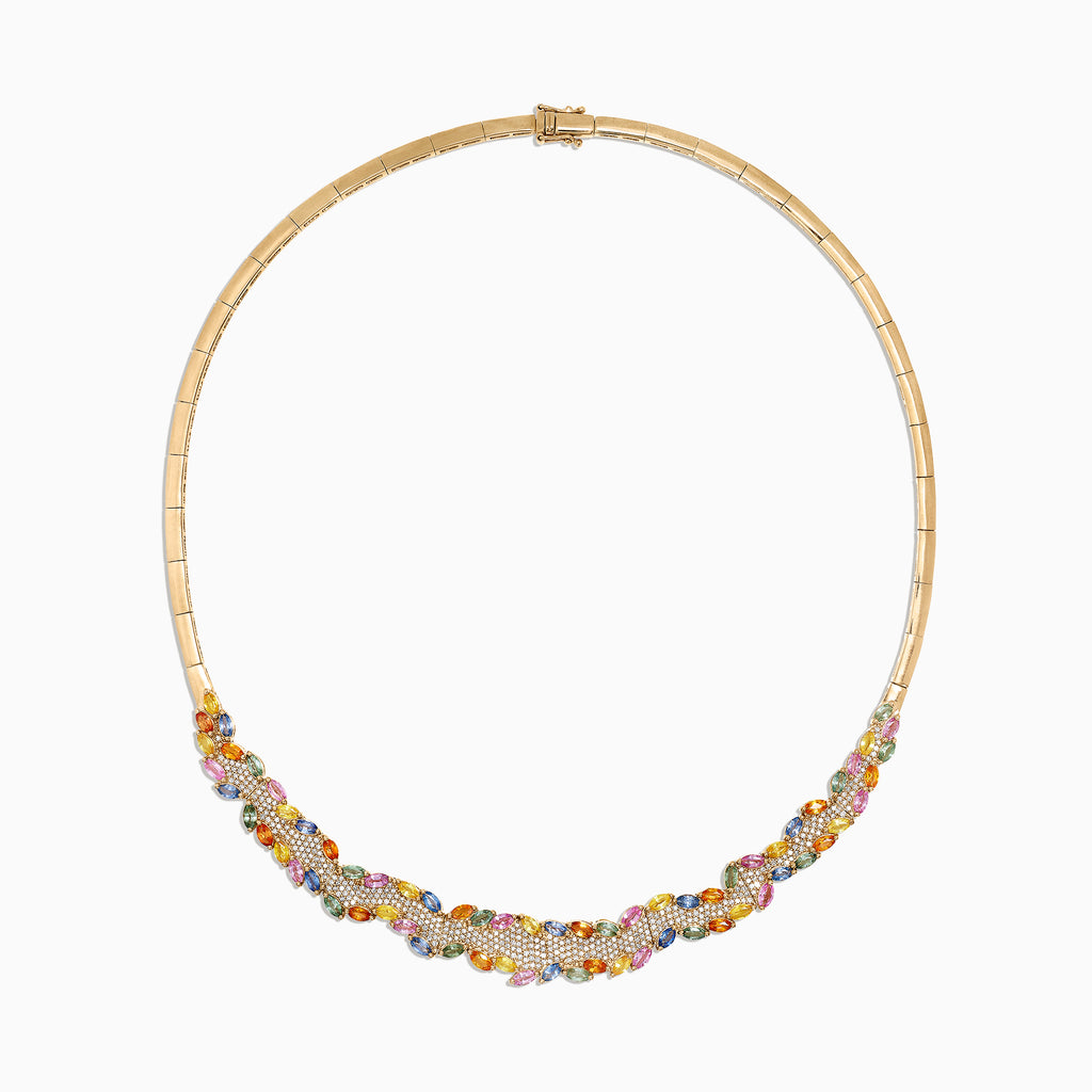 Effy Watercolors 14K Gold Multi Sapphire and Diamond Necklace, 12.86 TCW