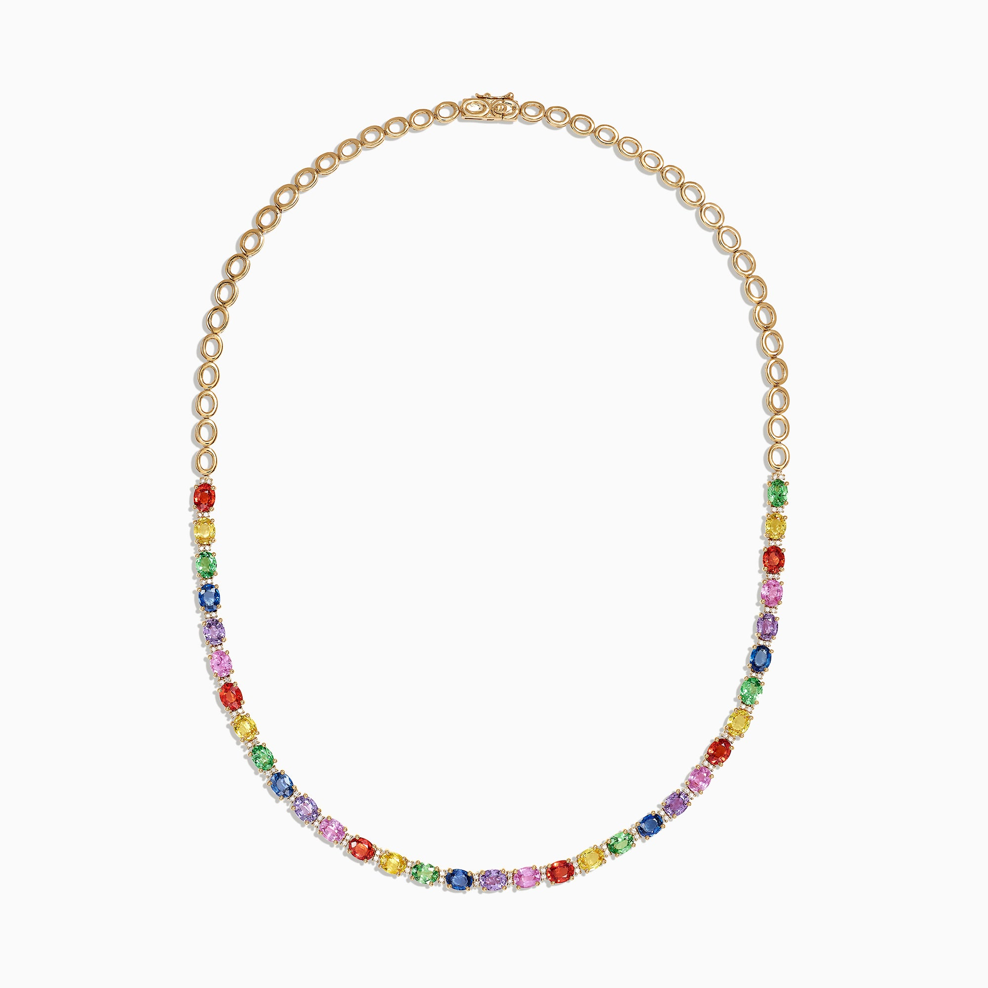 Effy Watercolors 14K Gold Multi Sapphire and Diamond Necklace, 13.84 TCW