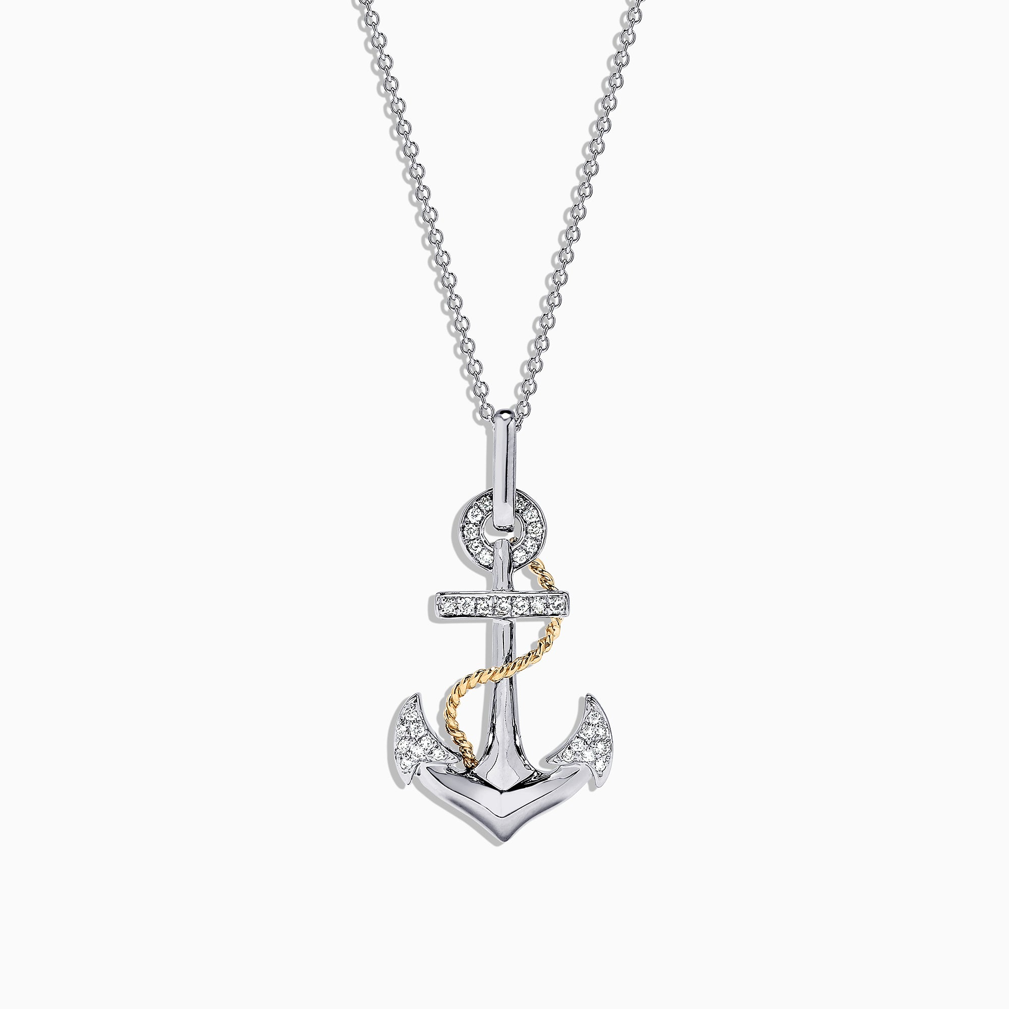 Effy Seaside 14K Two Tone Gold Diamond Anchor Pendant, 0.18 TCW