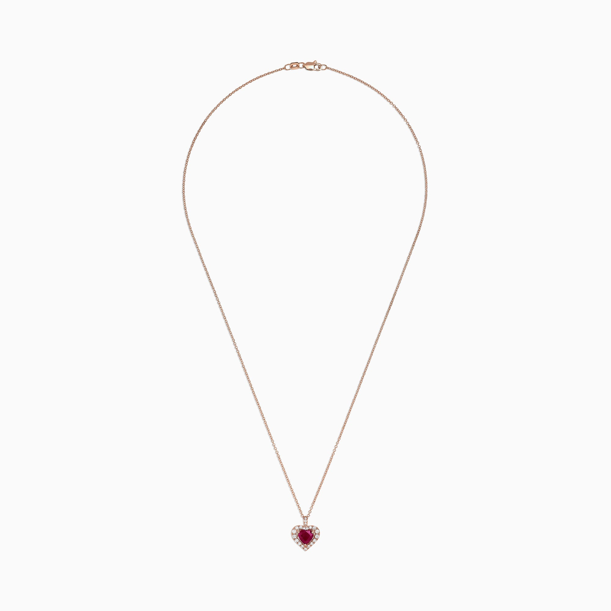 Effy Ruby Royale 14K Rose Gold Ruby & Diamond Heart Pendant, 1.28 TCW