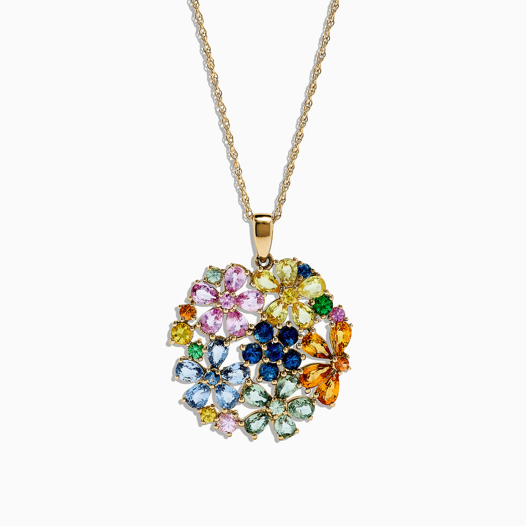 Effy 14K Yellow Gold Multi Sapphire and Tsavorite Floral Pendant, 7.53 TCW