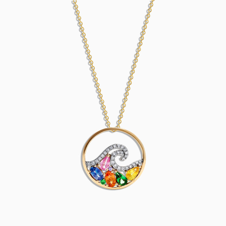 Effy Watercolors 14K Gold Multi Sapphire Diamond Wave Pendant, 1.63 TCW