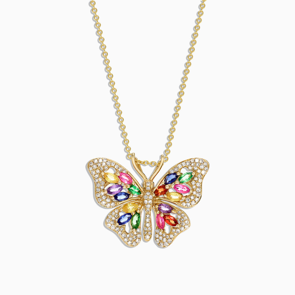 Effy Watercolors 14K Gold Sapphire & Diamond Butterfly Pendant, 2.34 TCW