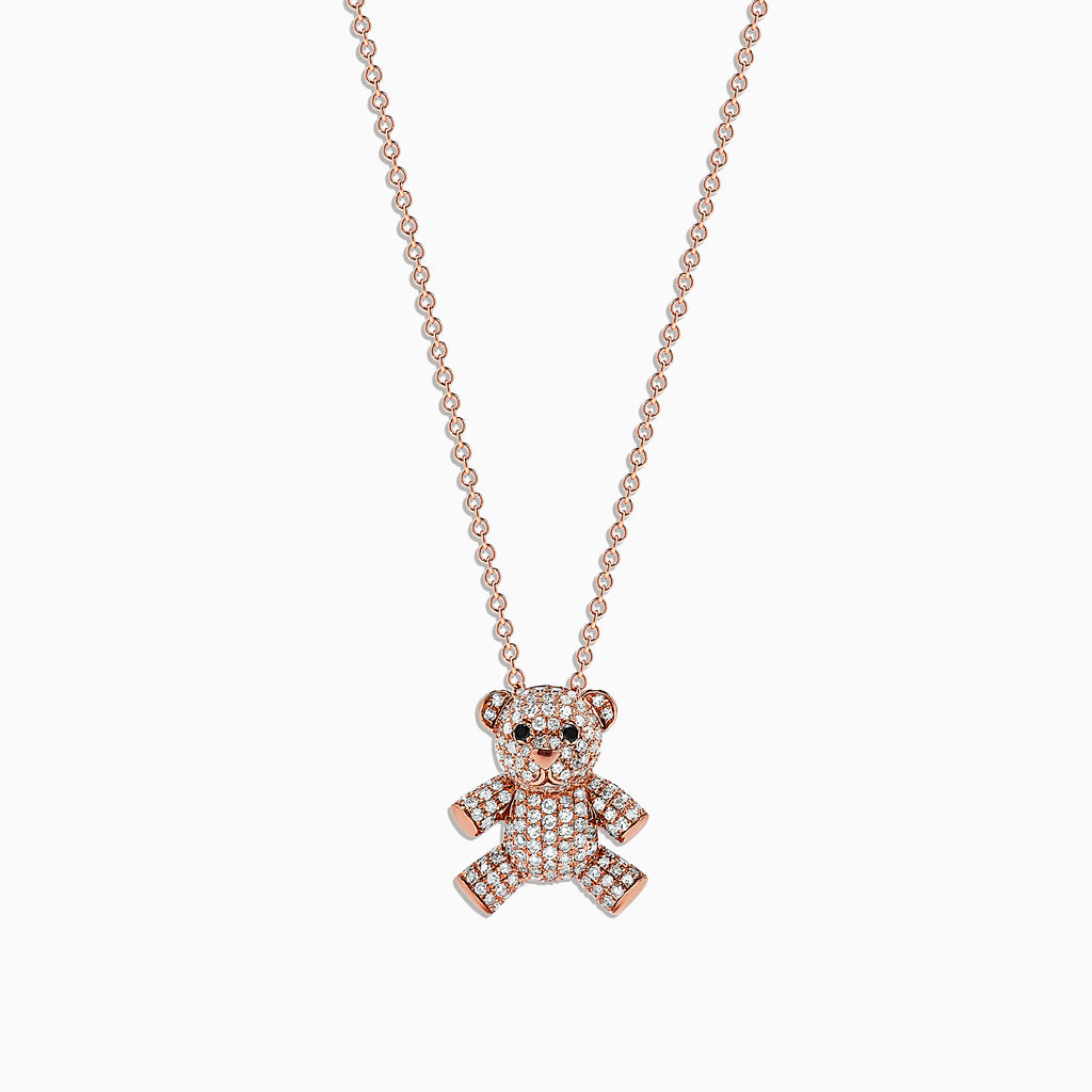Effy Novelty 14K Rose Gold Diamond Teddy Bear Pendant, 0.51 TCW