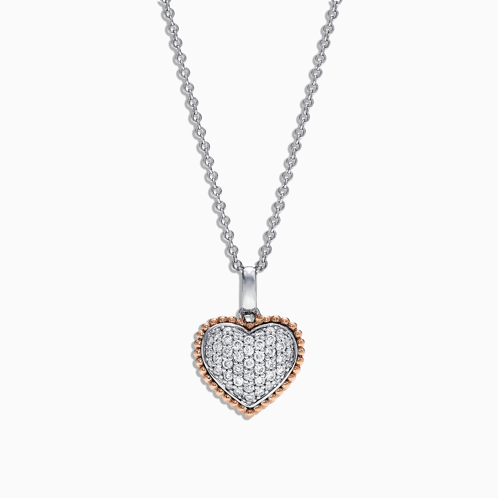 Effy Novelty 14K Rose and White Gold Diamond Heart Pendant, 0.31 TCW