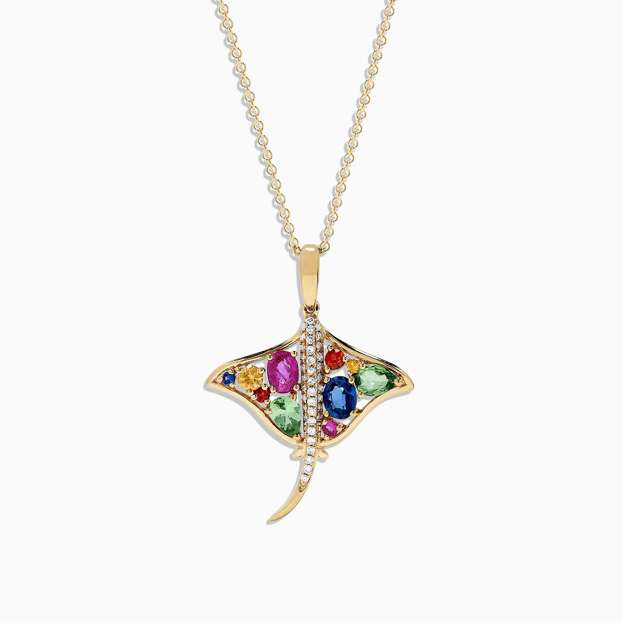 Effy Watercolors 14K Gold Sapphire and Diamond Stringray Pendant, 0.91 TCW