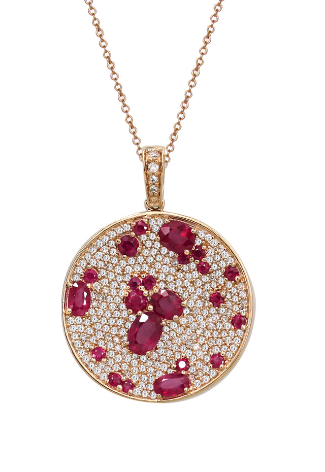Effy Gemma 14K Rose Gold Natural Ruby and Diamond Pendant, 4.19 TCW