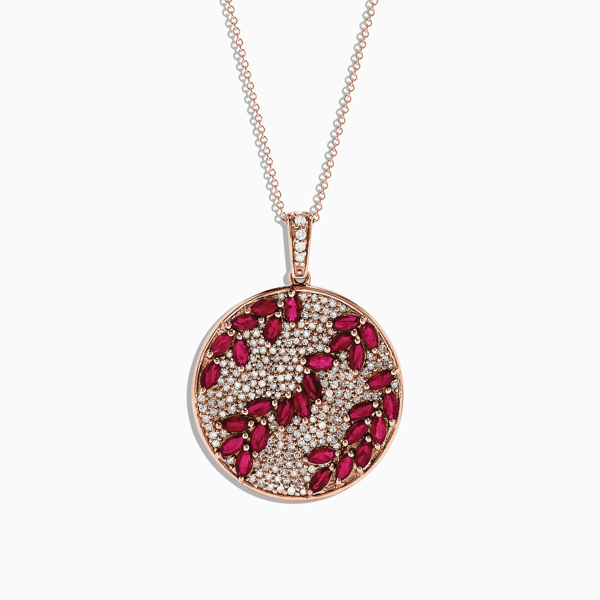 Effy 14K Rose Gold Natural Ruby and Diamond Pendant, 4.26 TCW
