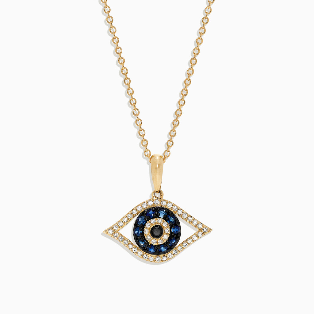Effy Novelty 14K Yellow Gold Sapphire & Diamond Evil Eye Pendant, 0.42 TCW