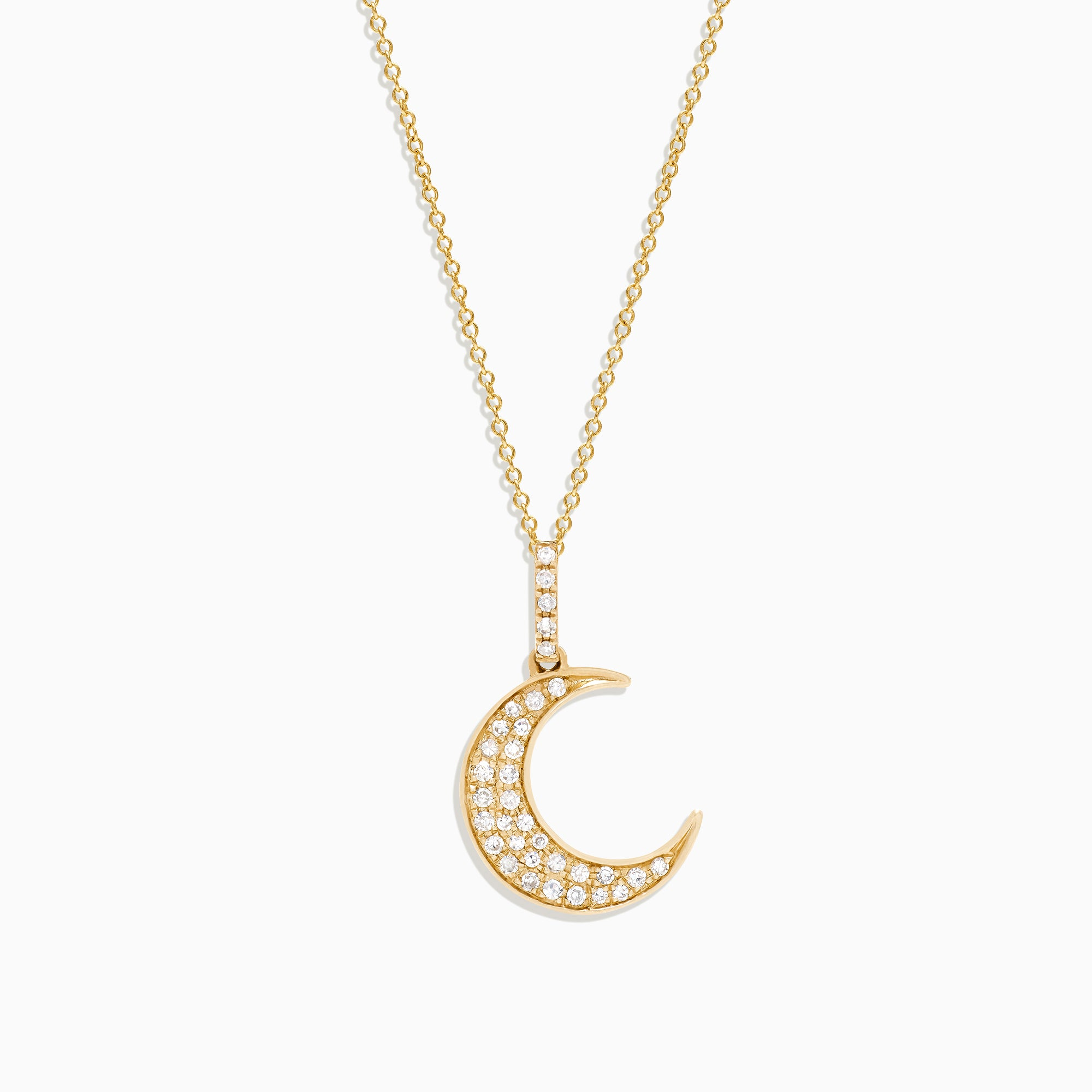 Effy Novelty 14K Yellow Gold Diamond Crescent Moon Pendant, 0.13 TCW