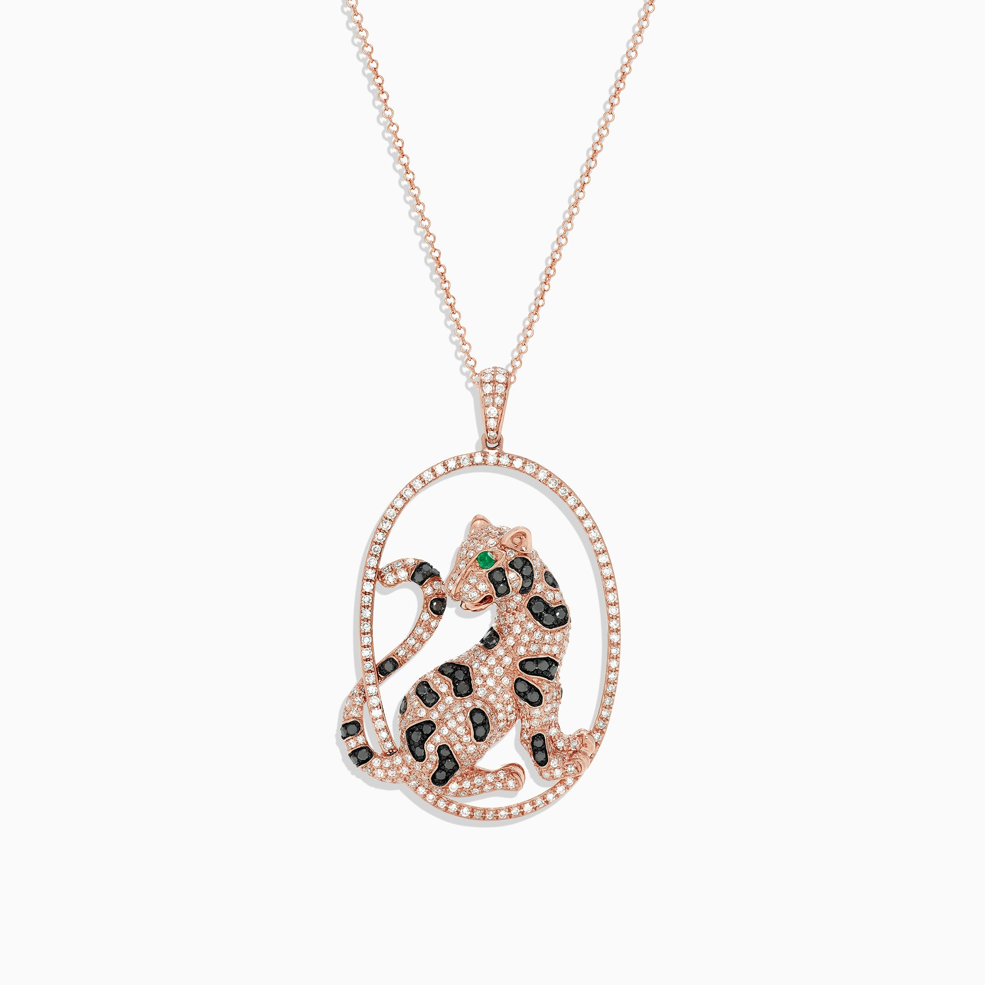 Effy Signature 14K Rose Gold Diamond and Emerald Panther Pendant, 1.75 TCW