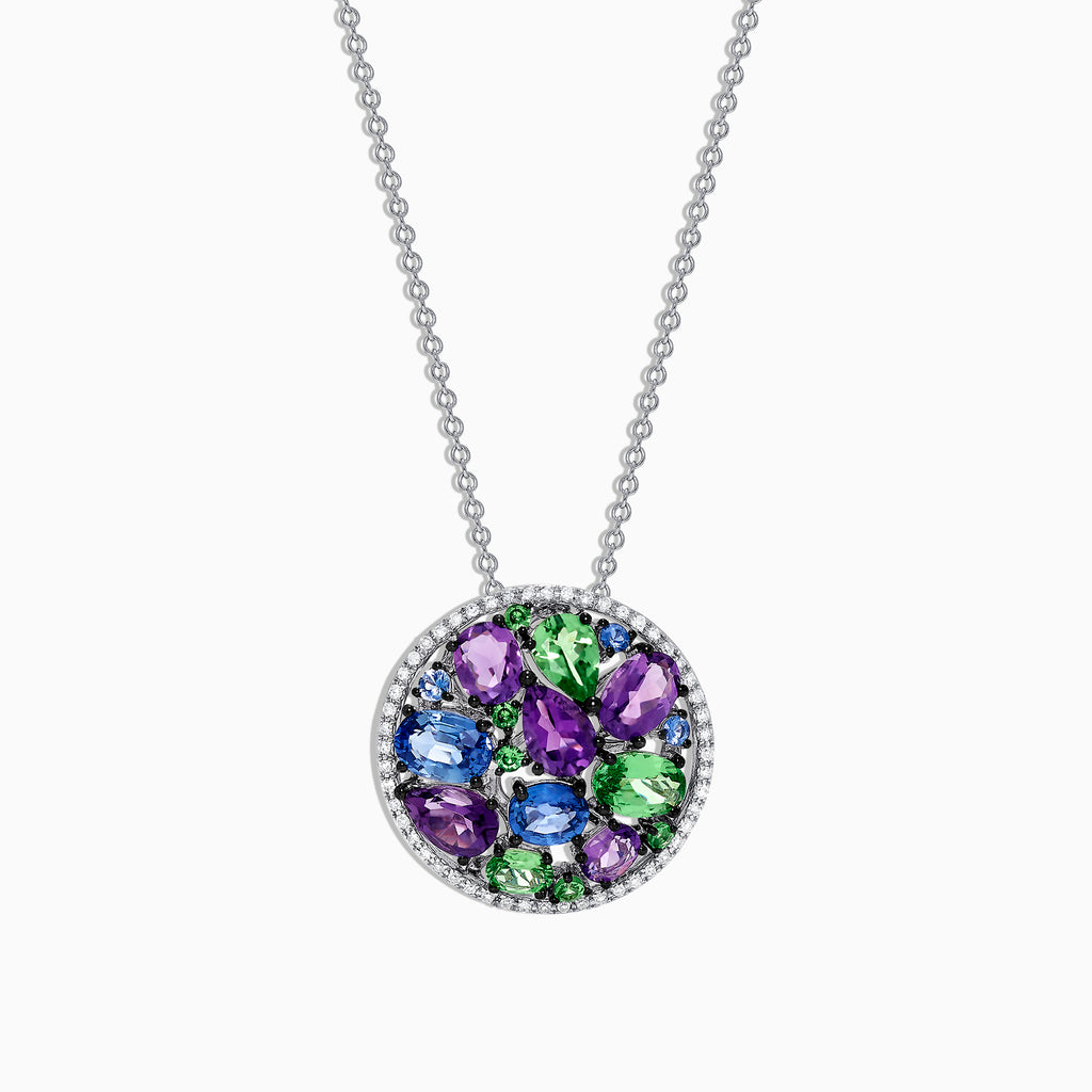 Effy Watercolors 14K White Gold Multi Gemstone & Diamond Pendant, 4.52 TCW