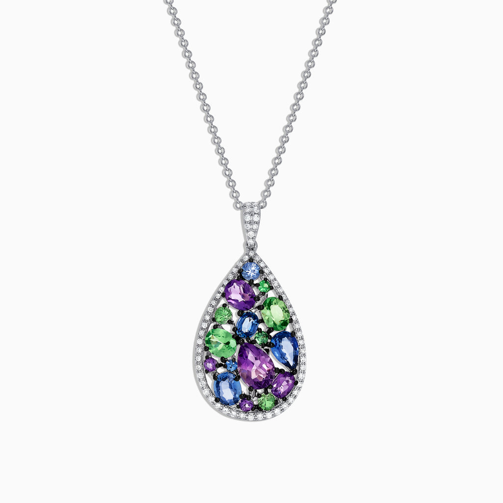 Effy Watercolors 14K White Gold Multi Gemstone & Diamond Pendant, 3.62 TCW