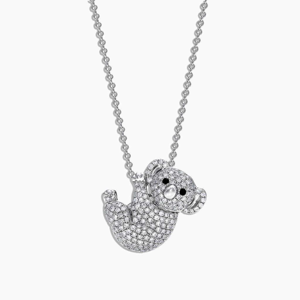 Effy Safari 14K White Gold Diamond Koala Bear Pendant, 0.69