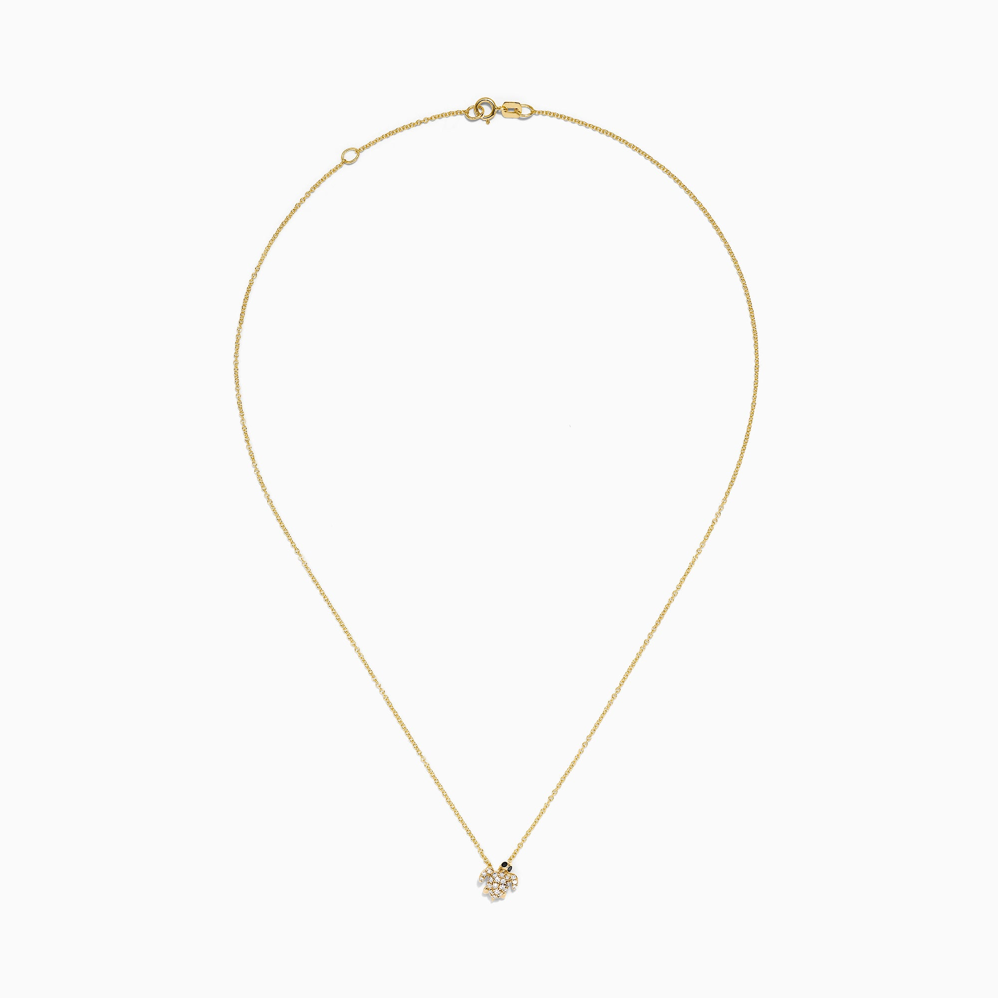 Effy Kidz 14K Yellow Gold Black and White Diamond Turtle Pendant, 0.10 TCW