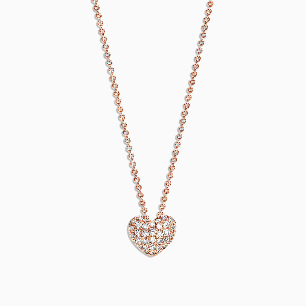Effy Kidz 14K Rose Gold Diamond Heart Pendant, 0.14 TCW