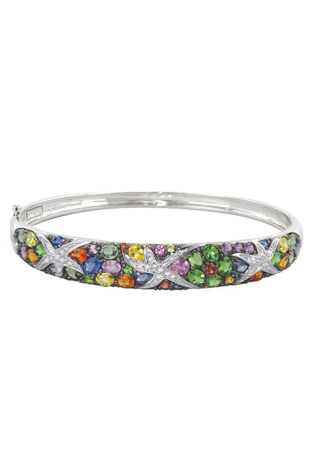 Effy Watercolors 14K White Gold Multi Sapphire & Diamond Bangle, 7.89 TCW