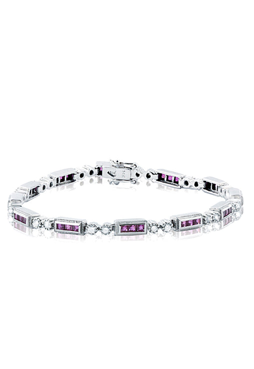 Effy 14K White Gold Ruby and Diamond Bracelet, 3.21 TCW