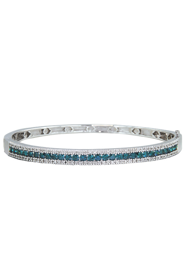 Effy Bella Bleu 14K White Gold Blue and White Diamond Bangle, 2.13 TCW