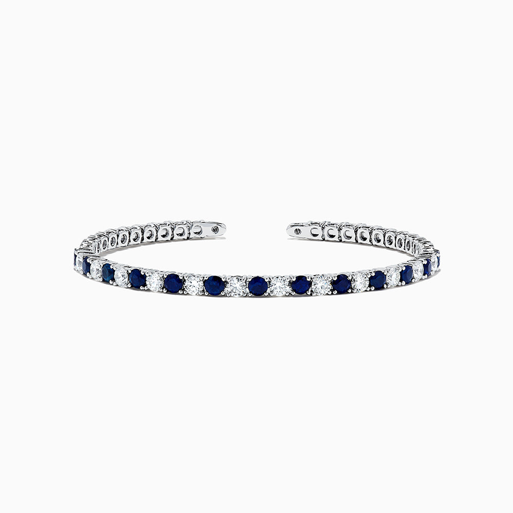 18K White Gold Blue Sapphire and Diamond Bracelet, 3.93 TCW