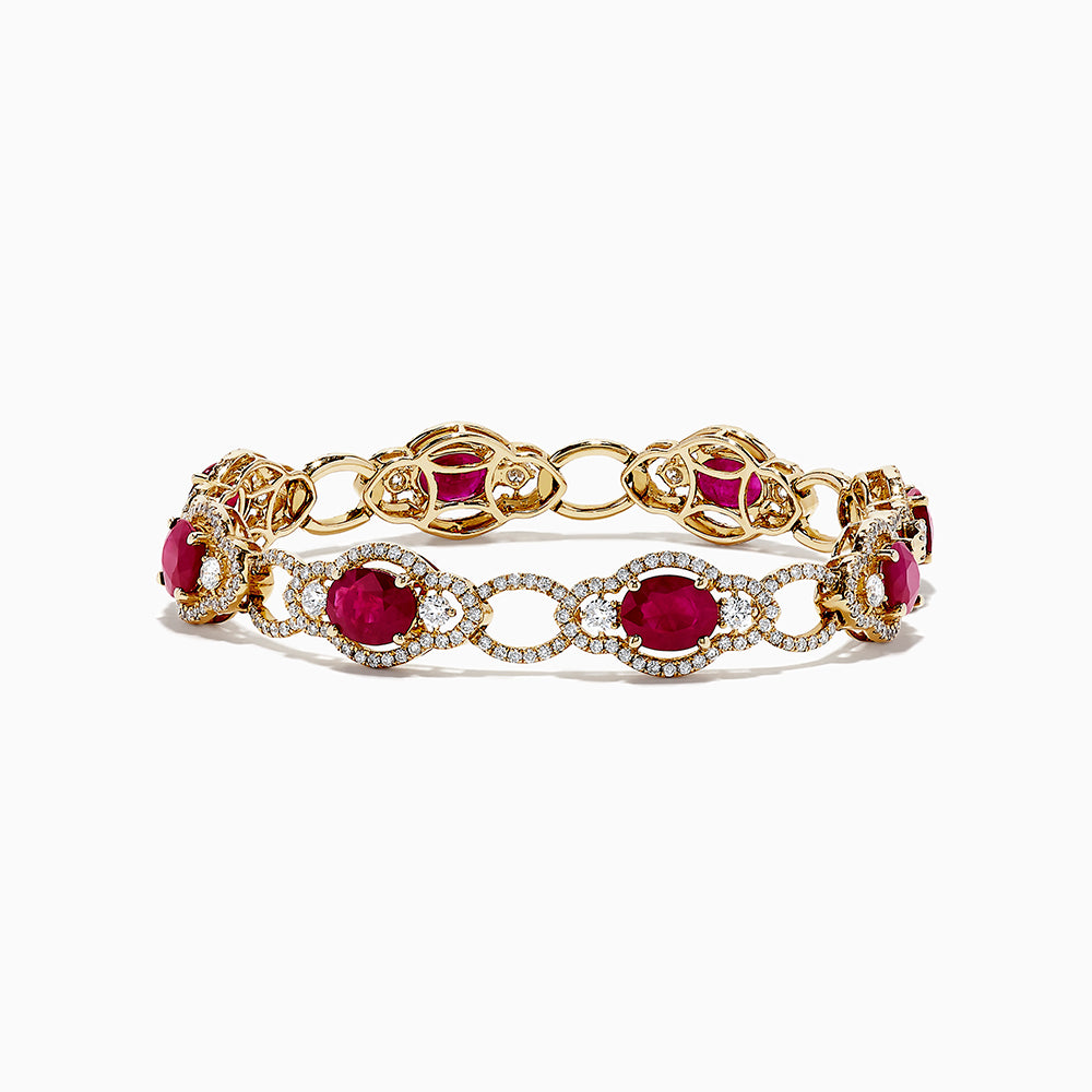 14K Yellow Gold Ruby and Diamond Bracelet, 13.86 TCW