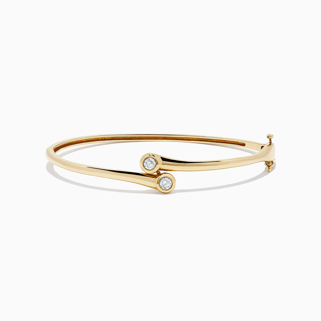 Effy D'Oro 14K Yellow Gold Diamond Two-Of-Us Bangle, 0.39 TCW