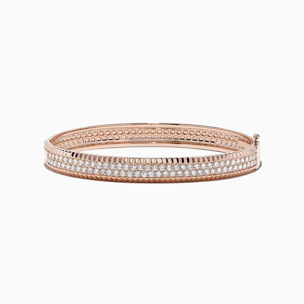 abd38b29b Effy Pave Rose 14K Rose Gold Diamond Bangle, 2.10 TCW