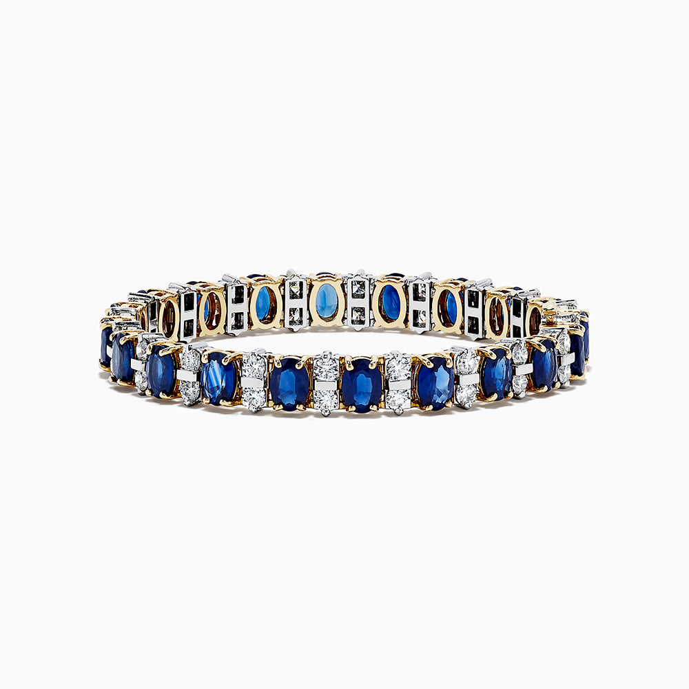 14K Two Tone Gold Sapphire and Diamond Bracelet, 23.25 TCW