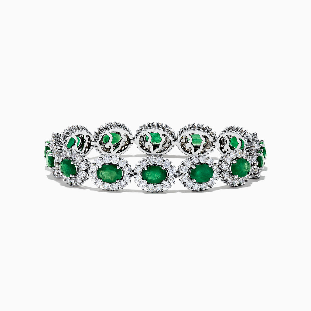 Effy Brasilica 14K White Gold Emerald and Diamond Bracelet, 17.23