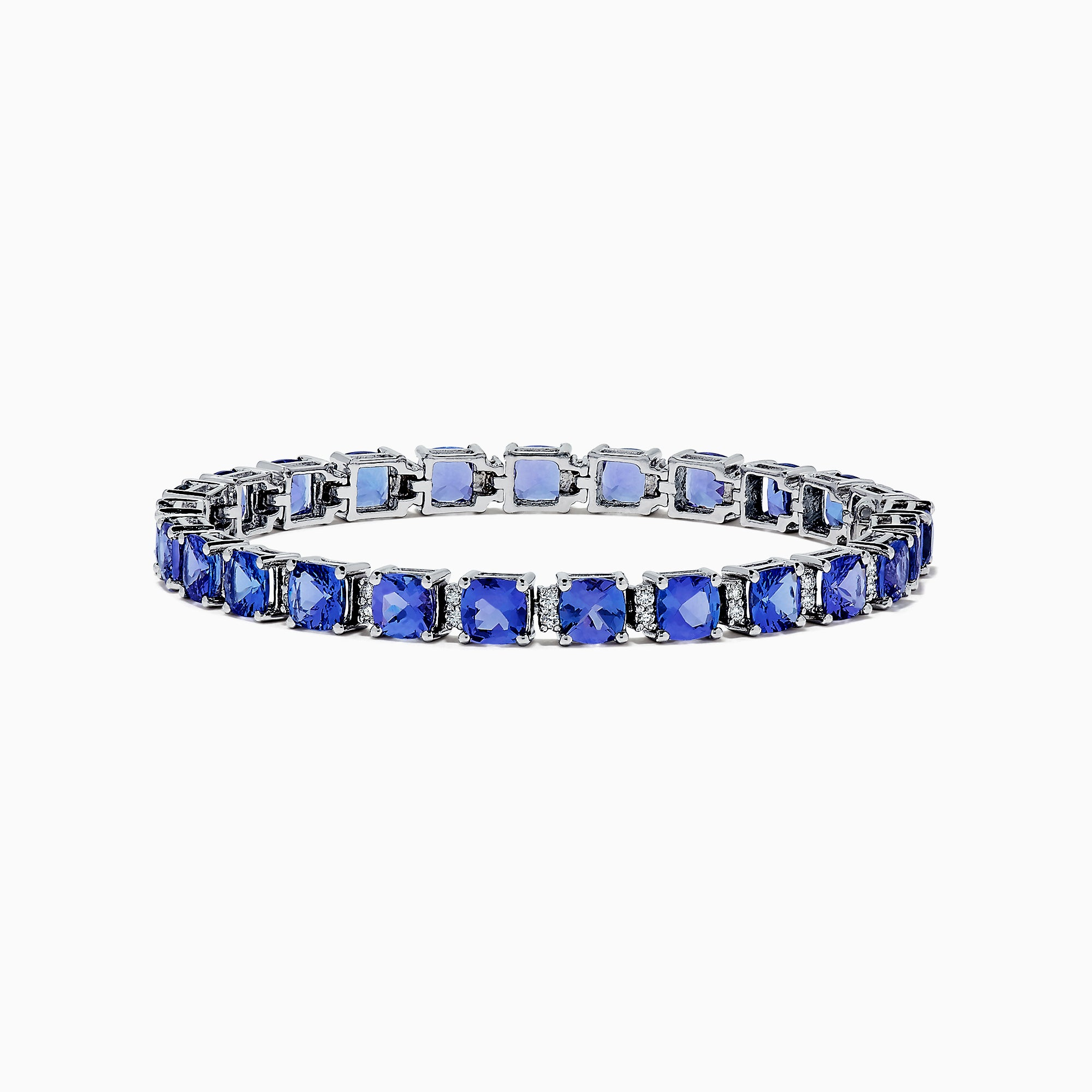 Effy 14K White Gold Tanzanite & Diamond Tennis Bracelet, 14.74 TCW