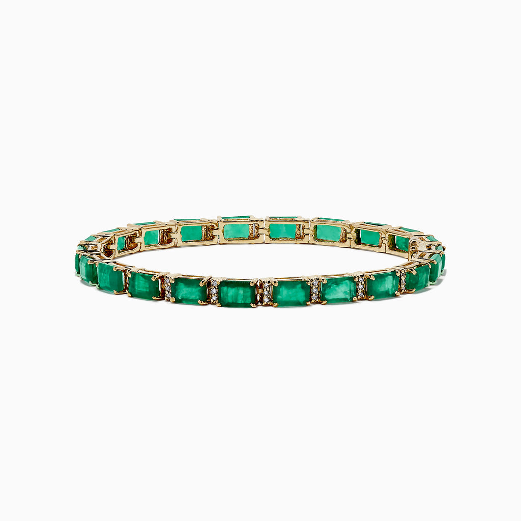 Effy Brasilica 14K Yellow Gold Emerald & Diamond Tennis Bracelet, 11.76 TCW