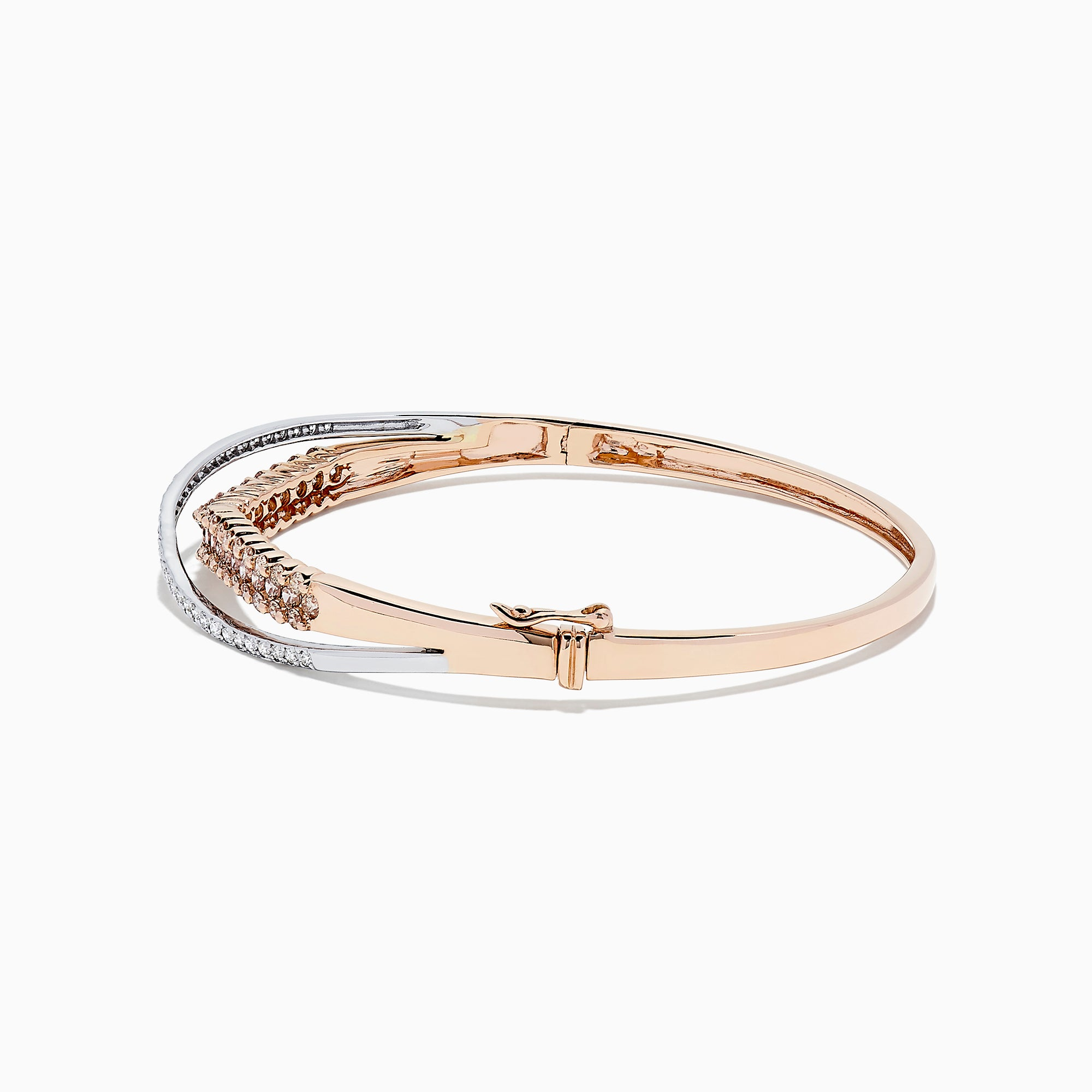 14K Two Tone Gold Espresso and White Diamond Crossover Bangle, 2.00 TCW