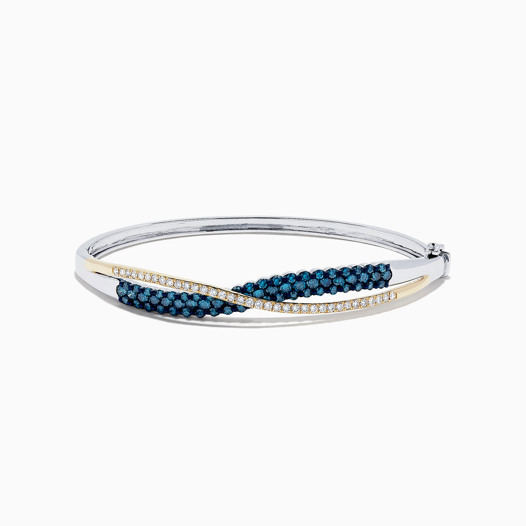 14K Two Tone Gold Blue and White Diamond Crossover Bangle, 2.00 TCW