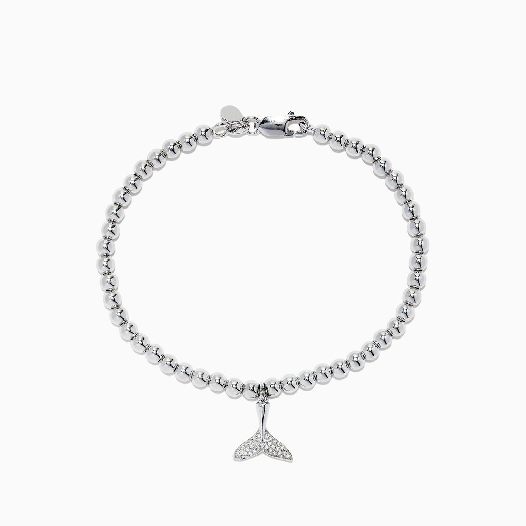 Effy Seaside Sterling Silver and Diamond Whale's Tail Bracelet, 0.09 TCW
