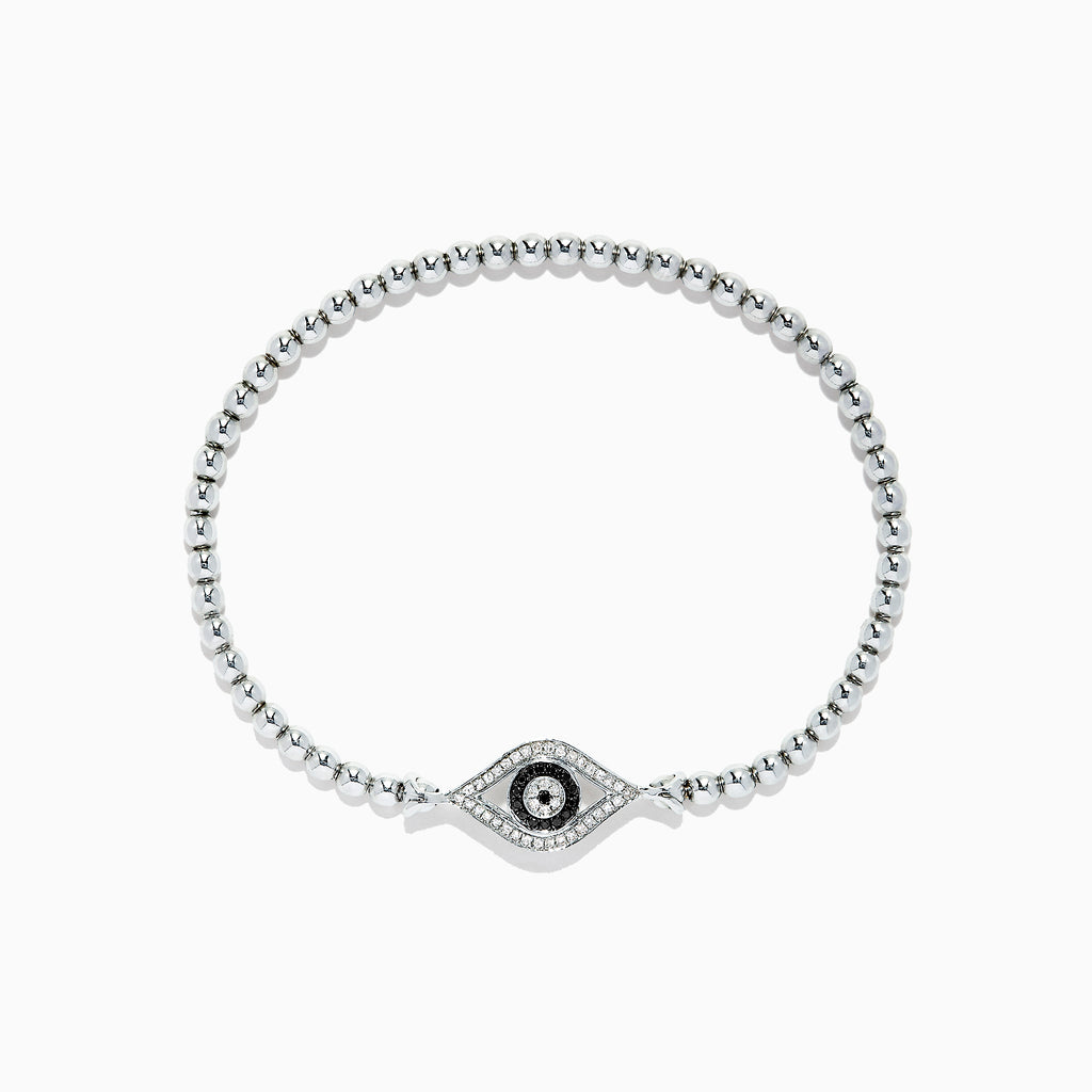 Effy Novelty Sterling Silver Diamond Evil Eye Bracelet, 0.21 TCW