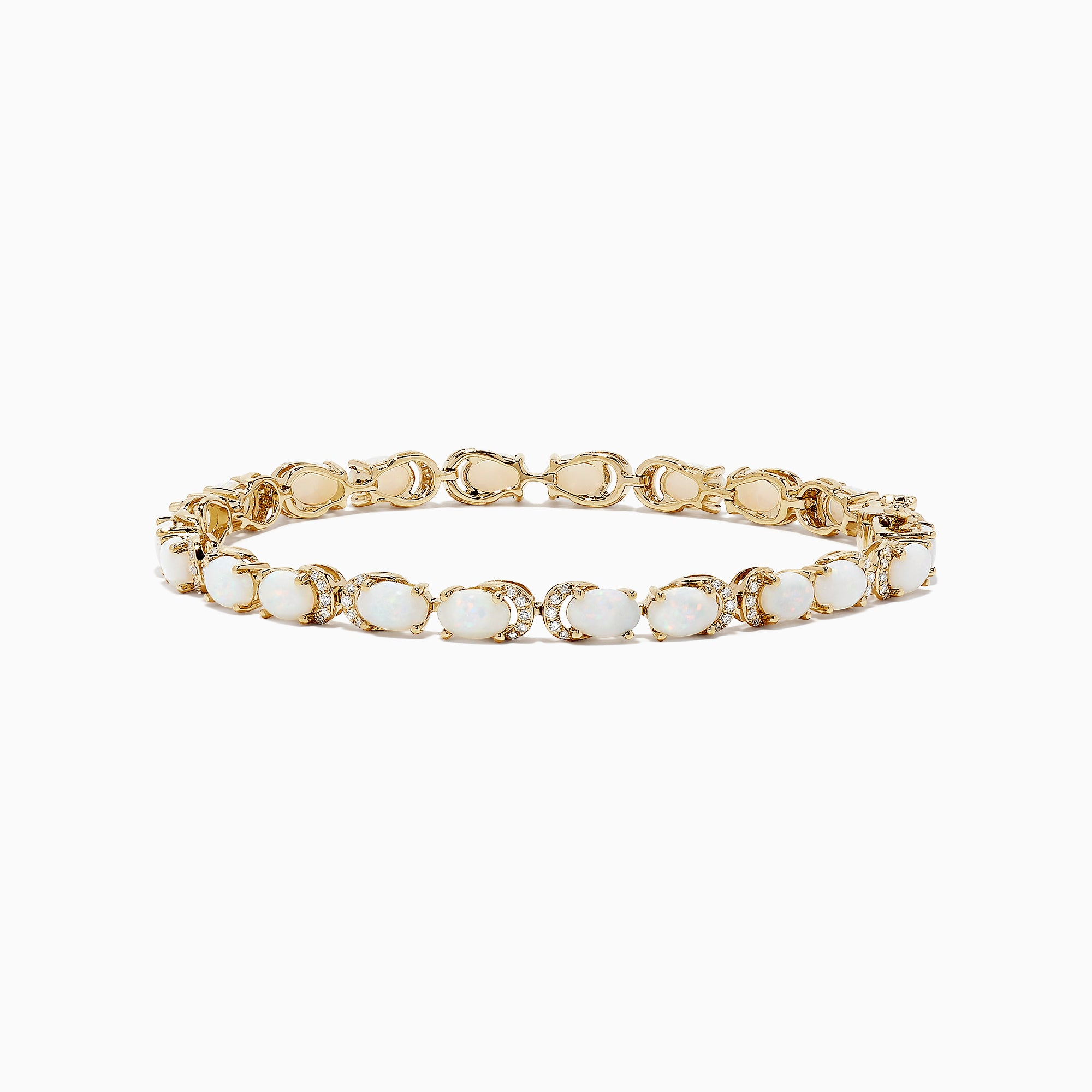Effy 14K Yellow Gold Opal & Diamond Accented Tennis Bracelet, 6.91 TCW