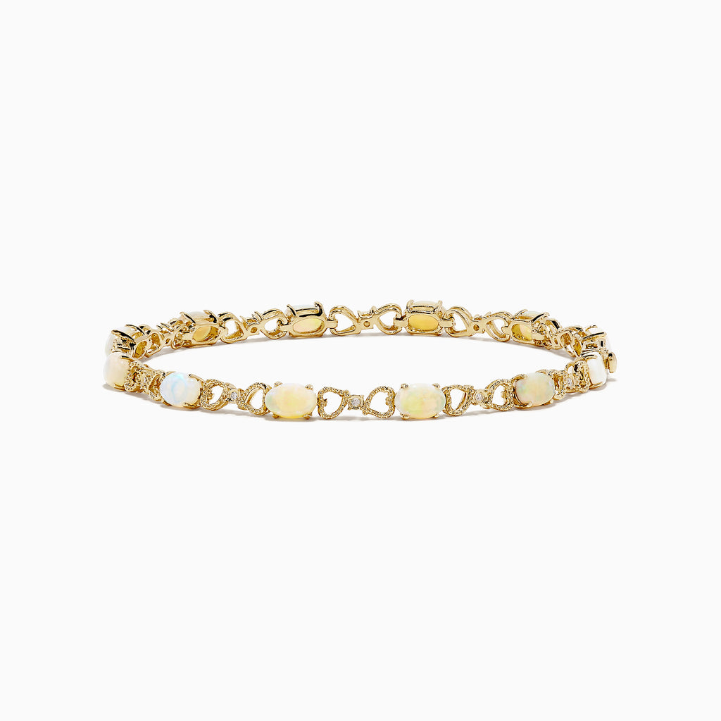Effy Aurora 14K Yellow Gold Opal and Diamond Bracelet, 4.16 TCW
