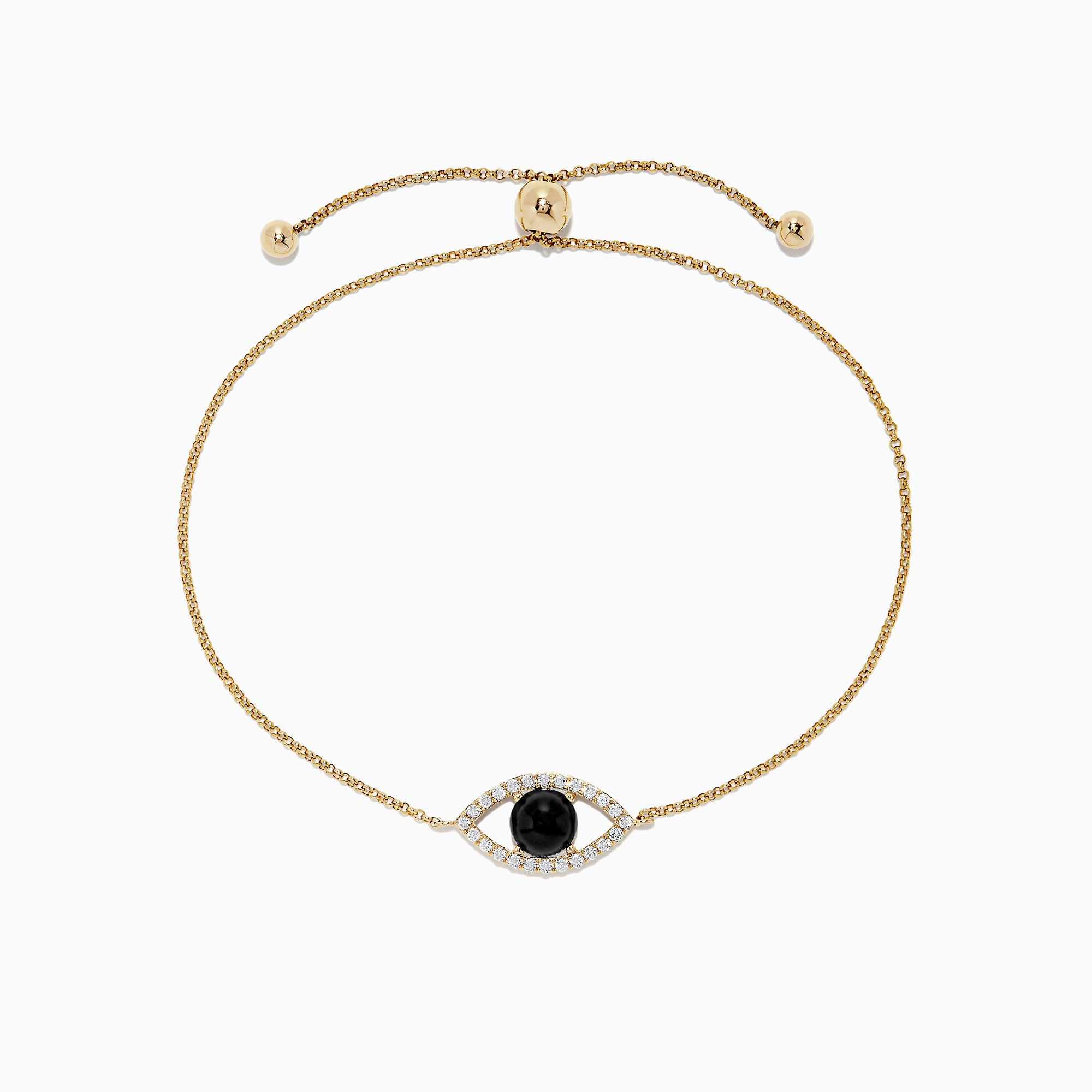 Effy Novelty 14K Yellow Gold Onyx and Diamond Evil Eye Bracelet, 1.36 TCW