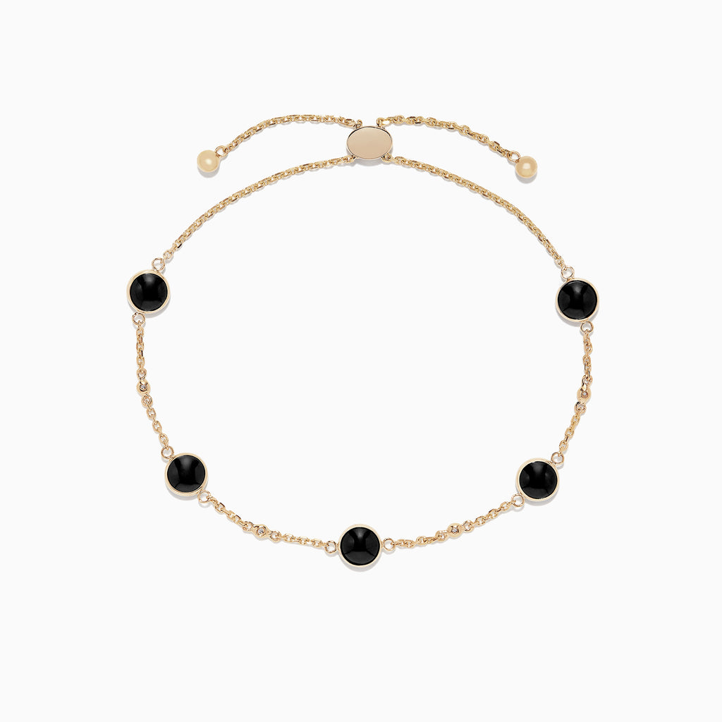 Effy Eclipse 14K Yellow Gold Onyx and Diamond Bracelet, 3.52 TCW