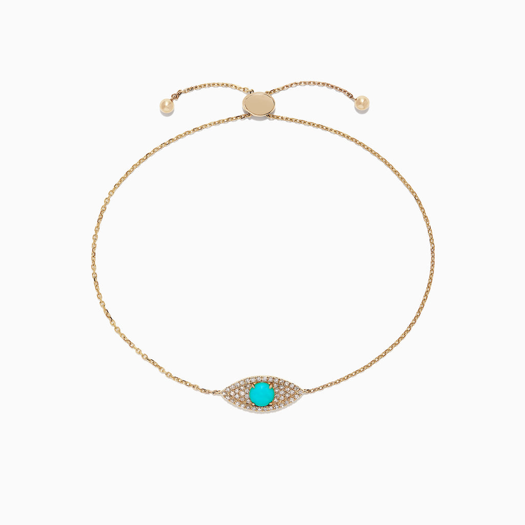 Effy Novelty 14K Gold Turquoise & Diamond Evil Eye Bracelet, 0.64 TCW