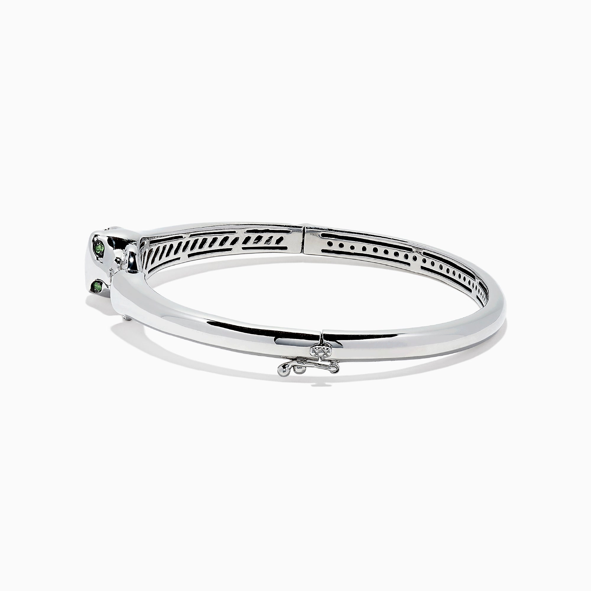 Effy Signature Sterling Silver Diamond and Tsavorite Panther Bangle, 0.10TCW